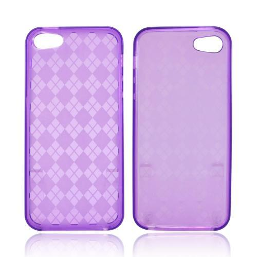Made for Apple iPhone SE / 5 / 5S  Case,  [Argyle Purple]  Slim Flexible Anti-shock Crystal Silicone Protective TPU Gel Skin Case Cover by Redshield
