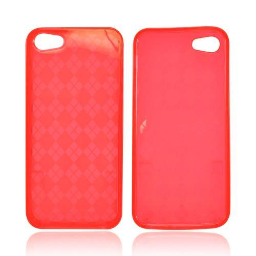 Apple iPhone SE / 5 / 5S  Case,  [Argyle Red]  Slim & Flexible Anti-shock Crystal Silicone Protective TPU Gel Skin Case Cover