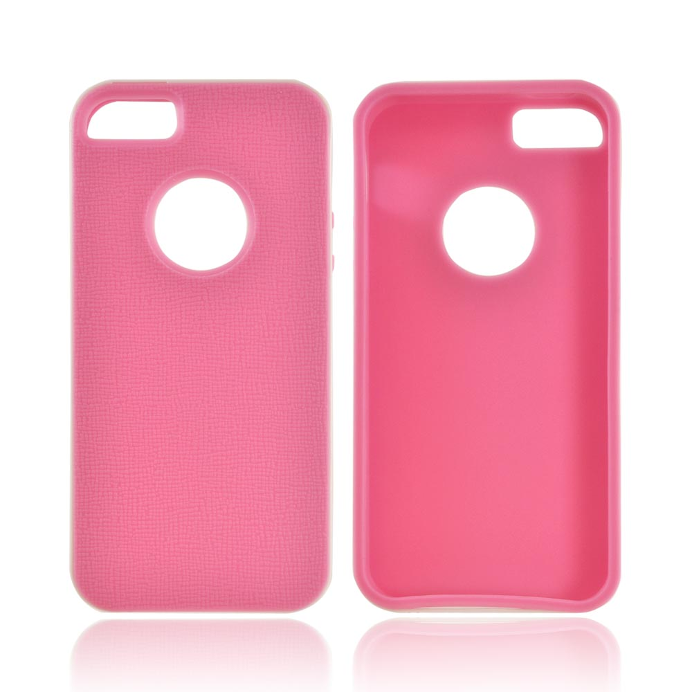 Made for Apple iPhone SE / 5 / 5S  Case,  [Pink/ White]  Slim Flexible Anti-shock Crystal Silicone Protective TPU Gel Skin Case Cover w/ Bumper by Redshield