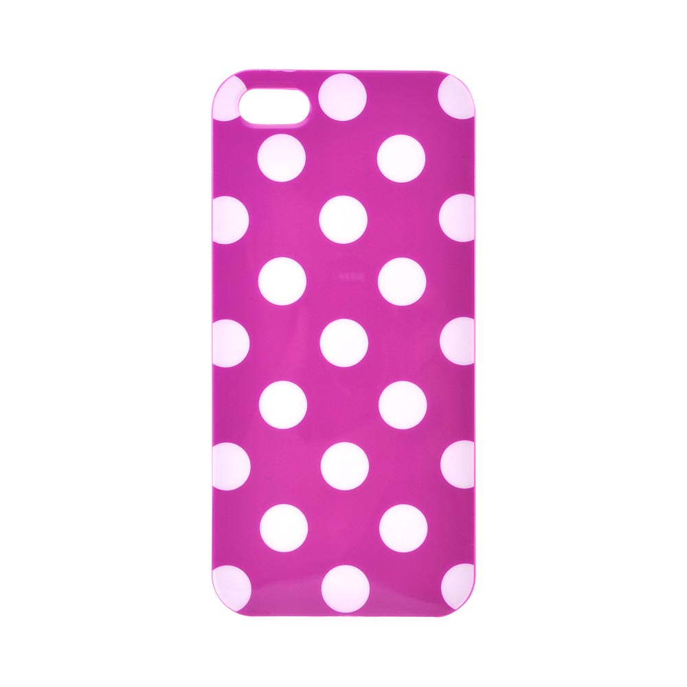 Made for Apple iPhone SE / 5 / 5S  Case,  [White Polka Dots on Purple]  Slim Flexible Anti-shock Crystal Silicone Protective TPU Gel Skin Case Cover by Redshield