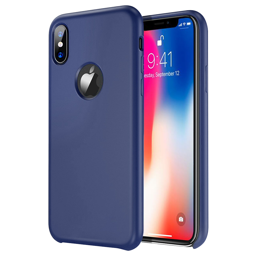 [Apple iPhone X] [Simple Series] TPU Case, Slim & Flexible Anti-shock Crystal Silicone Protective TPU Gel Skin Case [NAVY BLUE]