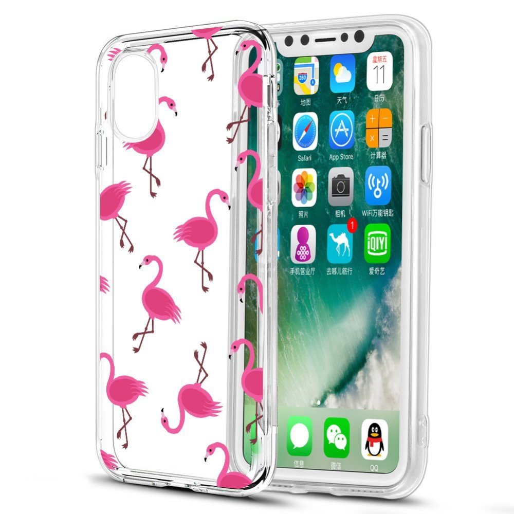 [REDshield] Apple iPhone X TPU Case, [Pink Flamingos] Slim & Flexible Anti-shock Crystal Silicone Protective TPU Gel Skin Case Cover