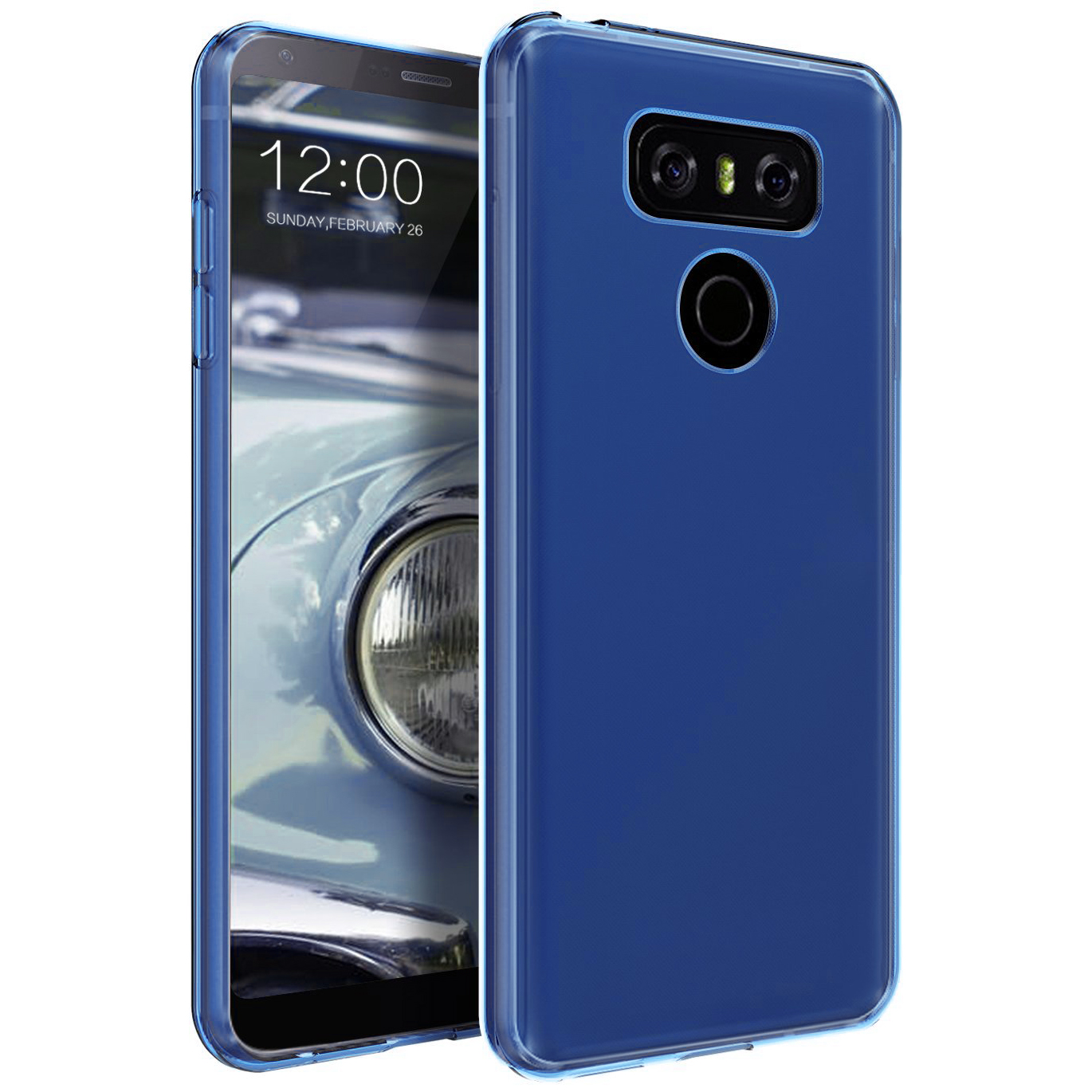 LG G6 Case, Slim & Flexible Anti-shock Crystal Silicone Protective TPU Gel Skin Case Cover [Blue] with Travel Wallet Phone Stand