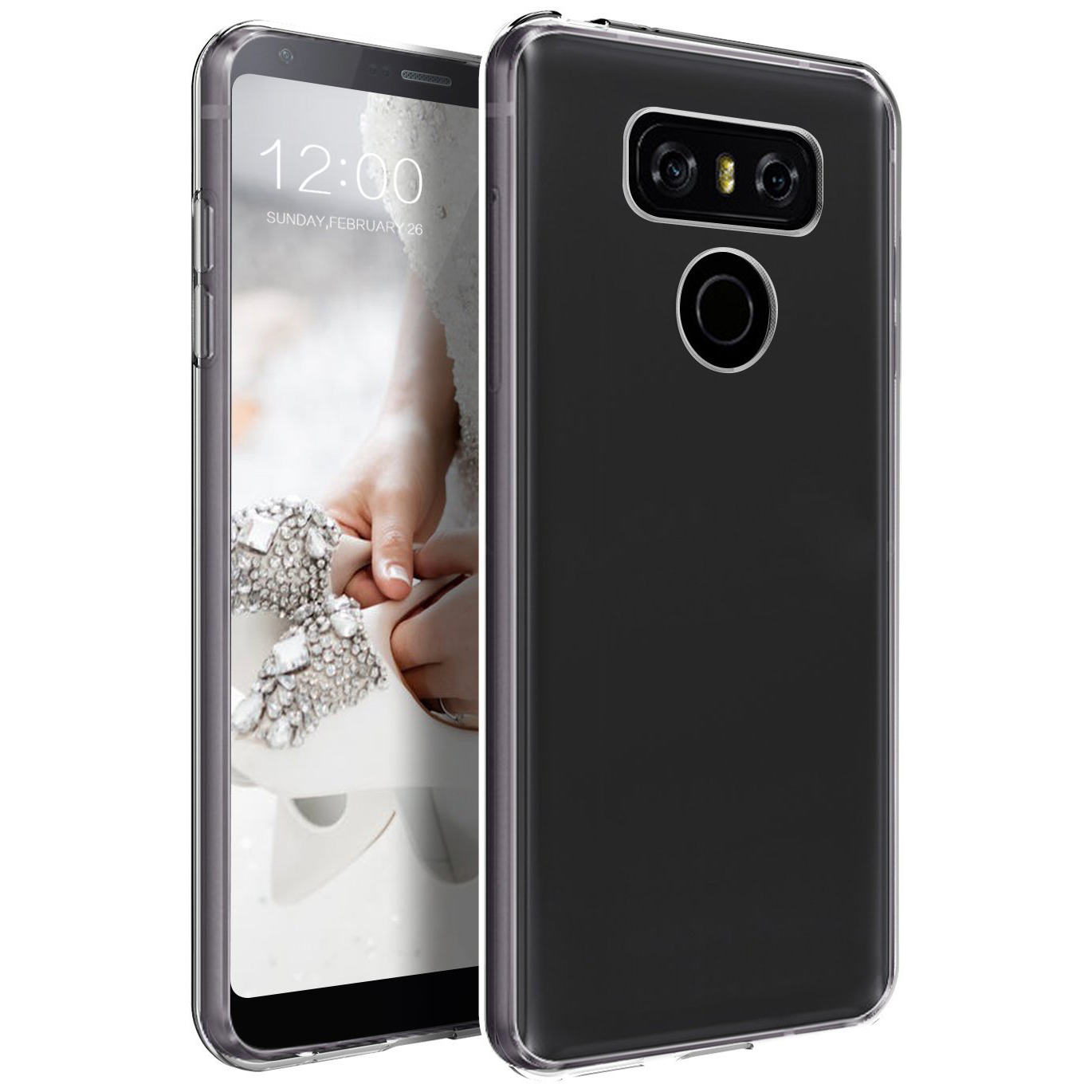 LG G6 TPU Case, Slim & Flexible Anti-shock Crystal Silicone Protective TPU Gel Skin Case Cover [Clear] with Travel Wallet Phone Stand