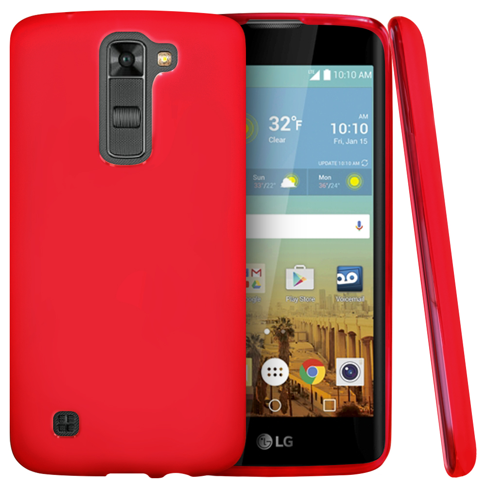 LG K7/ LG Tribute 5 Case,  [Red]  Slim & Flexible Anti-shock Crystal Silicone Protective TPU Gel Skin Case Cover