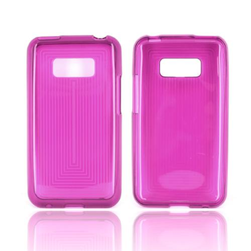 LG Optimus Elite Crystal Silicone Case - Purple Line Design