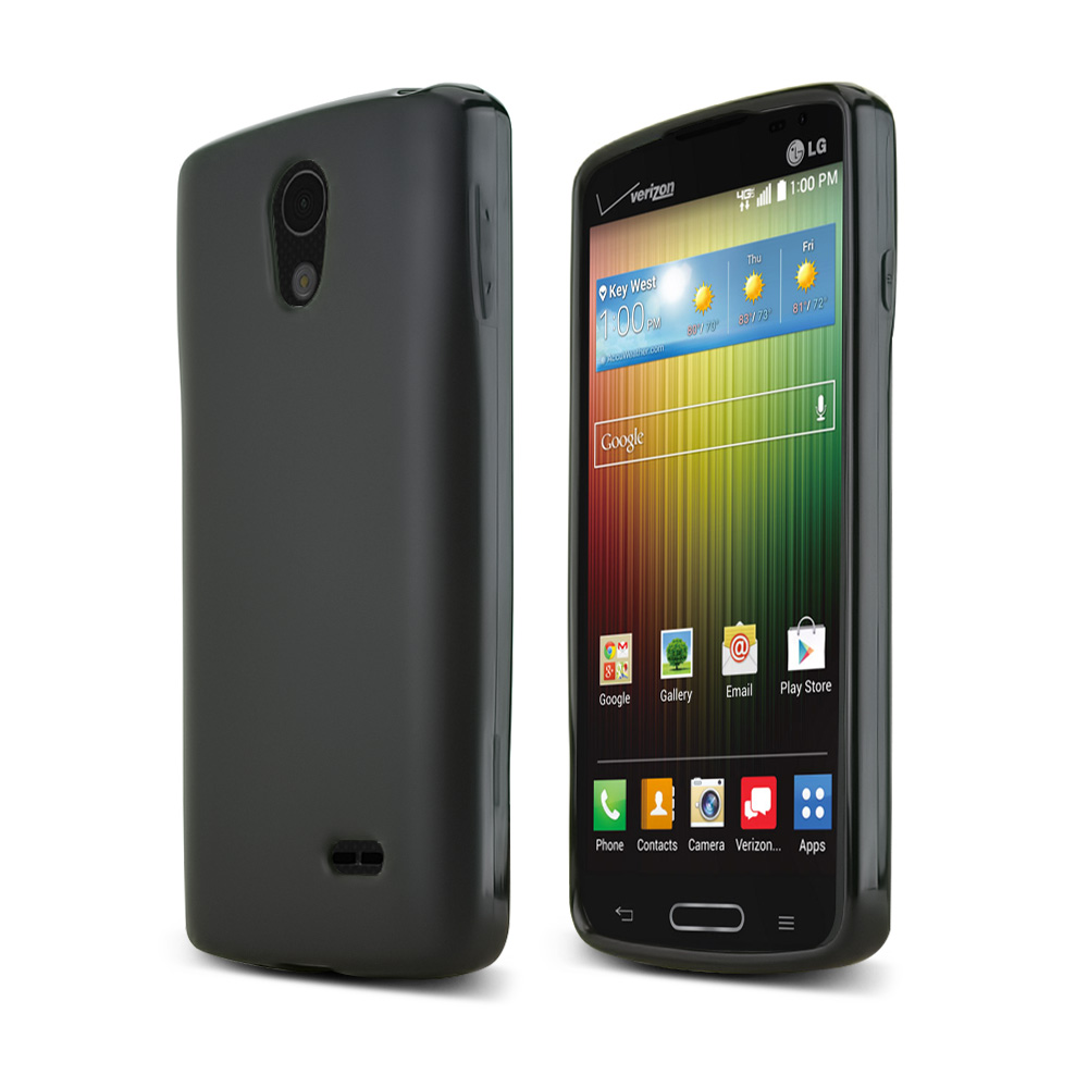 Black LG Lucid 3 Flexible Crystal Silicone TPU Case - Conforms To Your Phone Without Stretching Out!