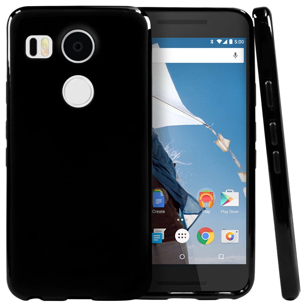LG Google Nexus 5X Case, [Black]  Slim & Flexible Anti-shock Crystal Silicone TPU Skin Protective Cover