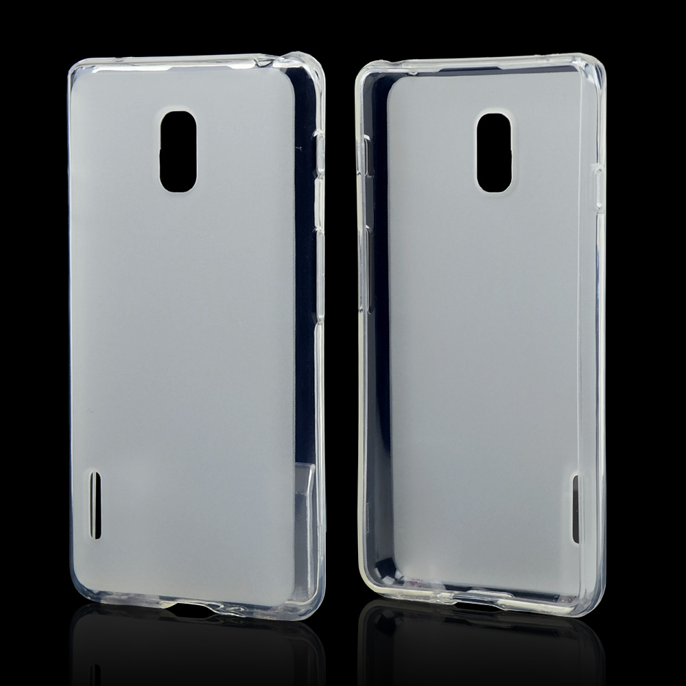 Clear/ Frosted Crystal Silicone Skin Case for LG Optimus F7