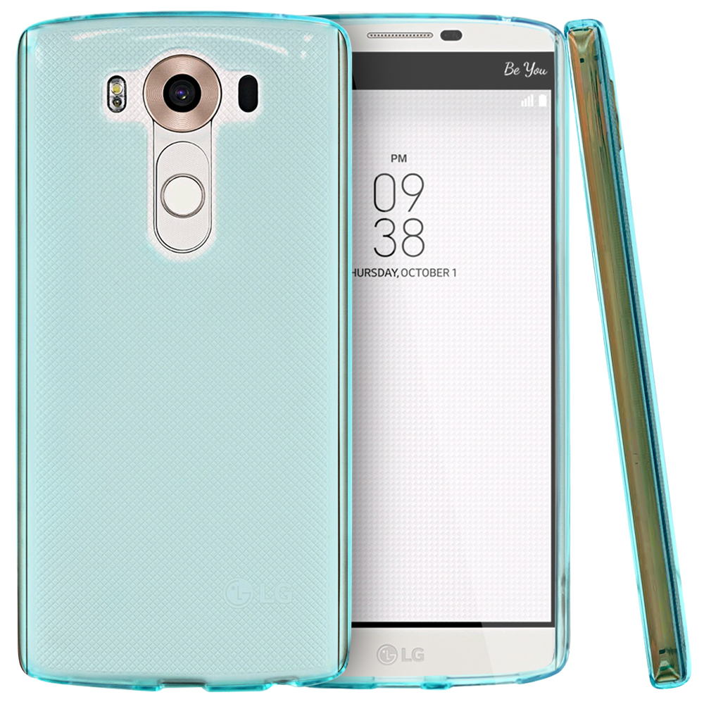 LG V10 Case,  [Aqua Blue]  Slim & Flexible Anti-shock Crystal Silicone Protective TPU Gel Skin Case Cover