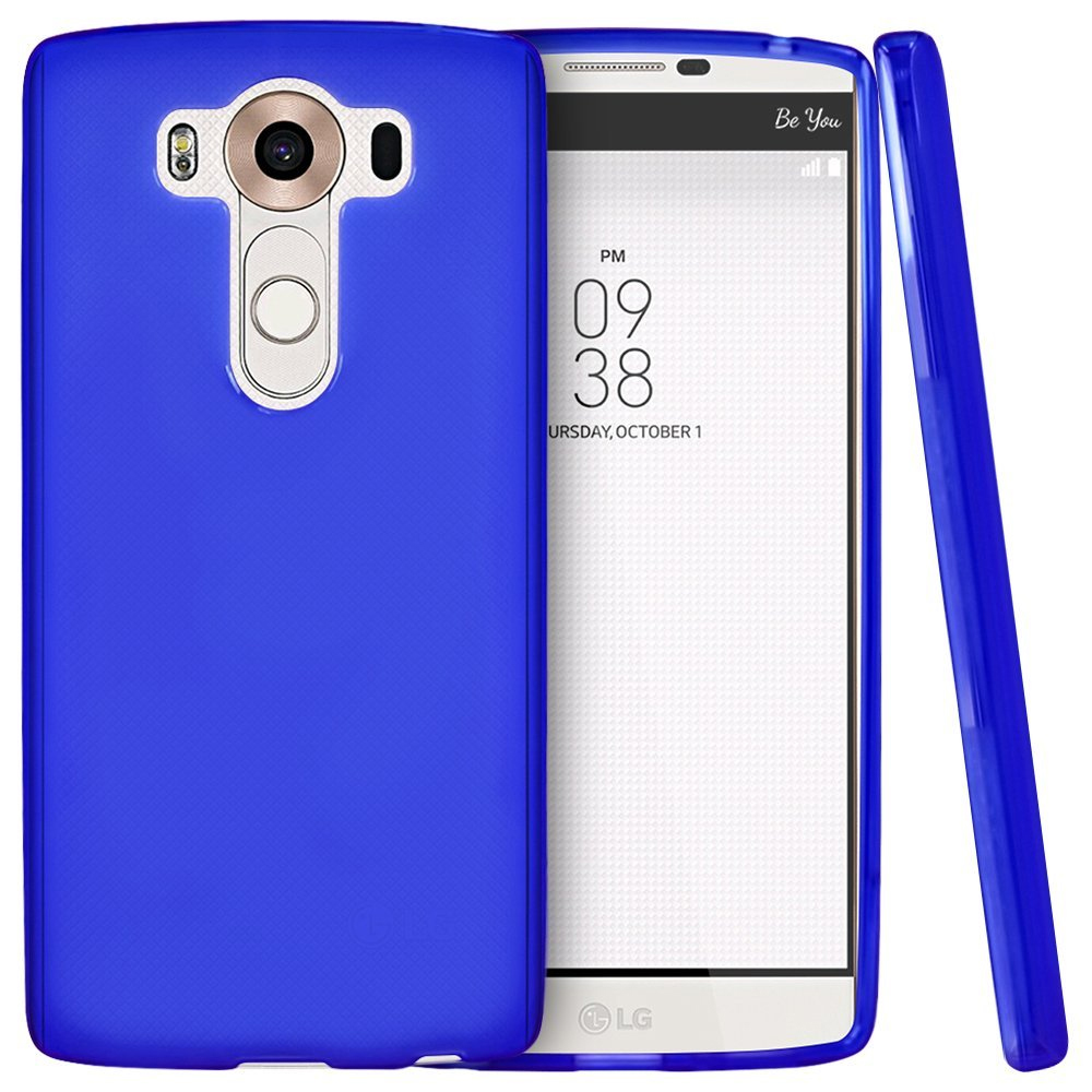LG V10 Case,  [Blue]  Slim & Flexible Anti-shock Crystal Silicone Protective TPU Gel Skin Case Cover