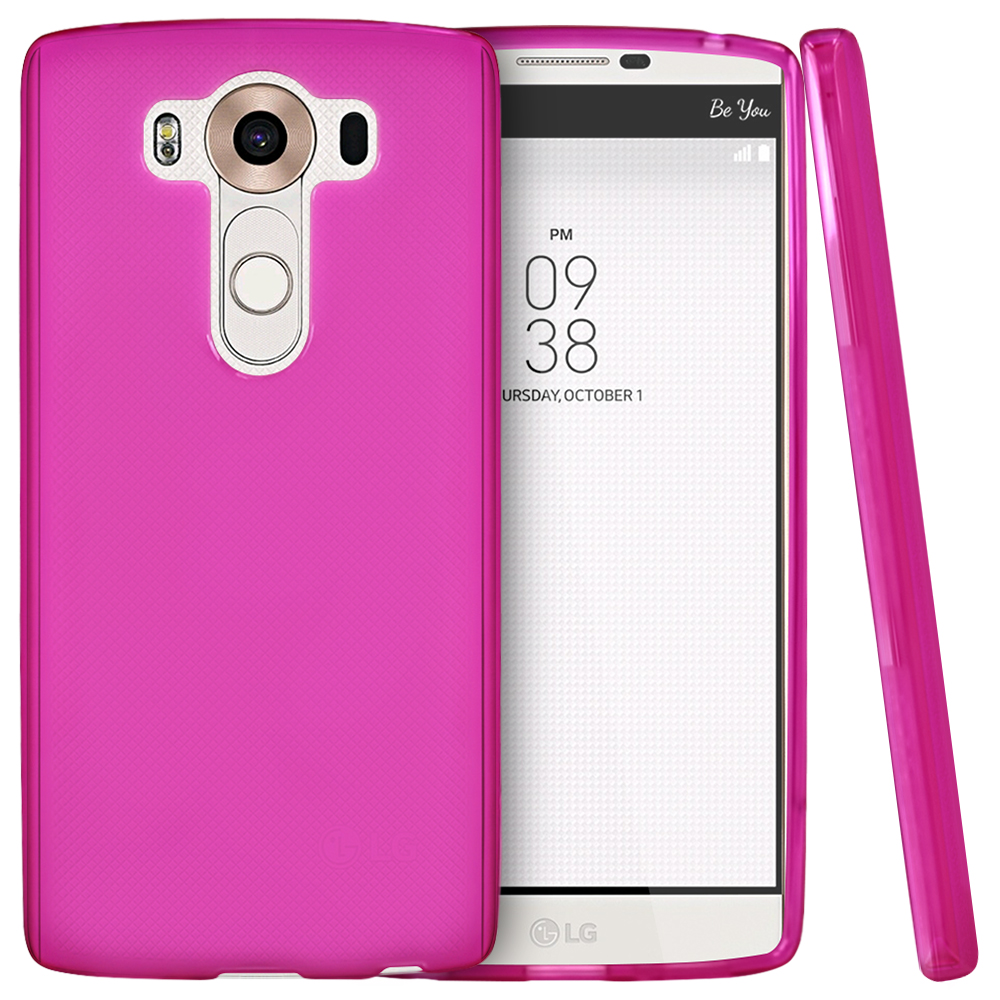 LG V10 Case,  [Hot Pink]  Slim & Flexible Anti-shock Crystal Silicone Protective TPU Gel Skin Case Cover