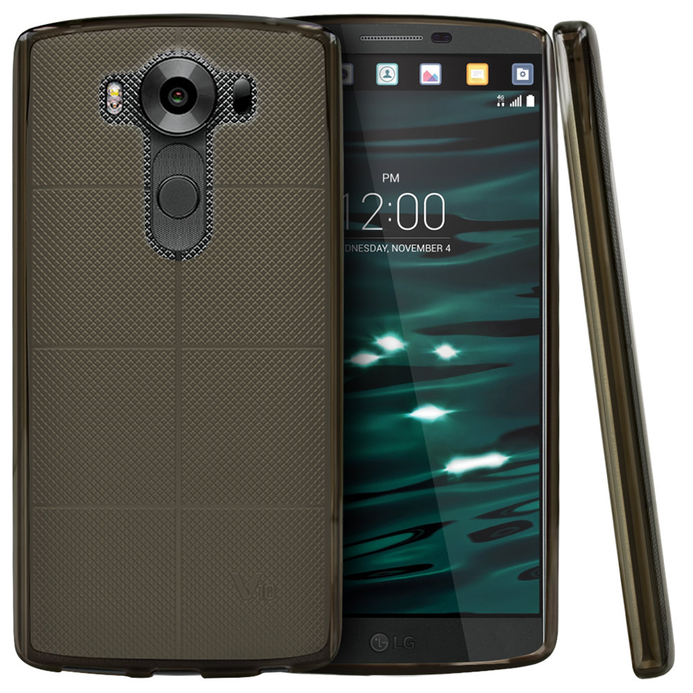 LG V10 Case,  [Smoke]  Slim & Flexible Anti-shock Crystal Silicone Protective TPU Gel Skin Case Cover