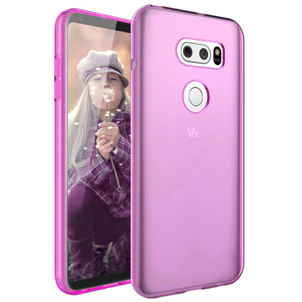 LG V30 TPU Case, [Hot Pink] Slim & Flexible Anti-shock Crystal Silicone Protective TPU Gel Skin Case