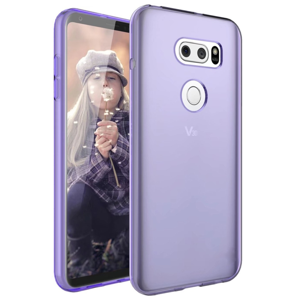 LG V30 TPU Case, [Purple] Slim & Flexible Anti-shock Crystal Silicone Protective TPU Gel Skin Case