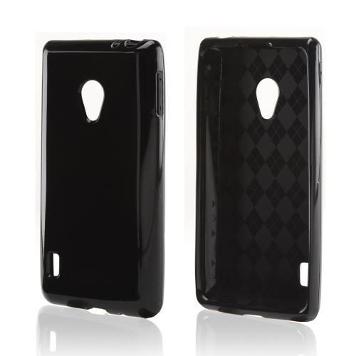 Black (Argyle Interior) Crystal Silicone Case for LG Lucid 2