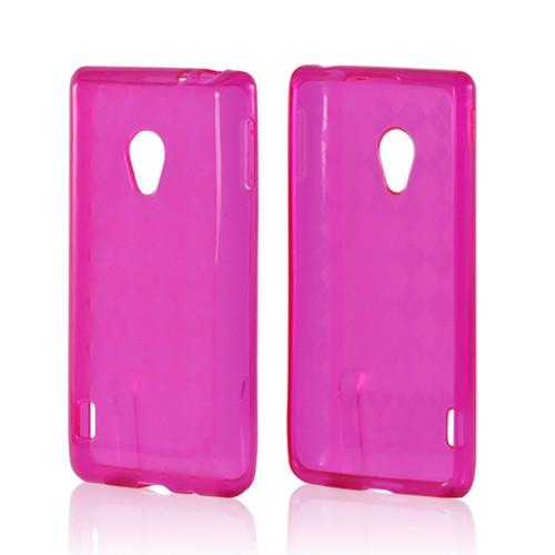 Hot Pink Argyle Crystal Silicone Case for LG Spirit 4G