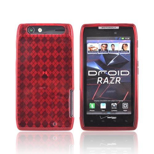 Motorola Droid RAZR Crystal Silicone Case - Argyle Red