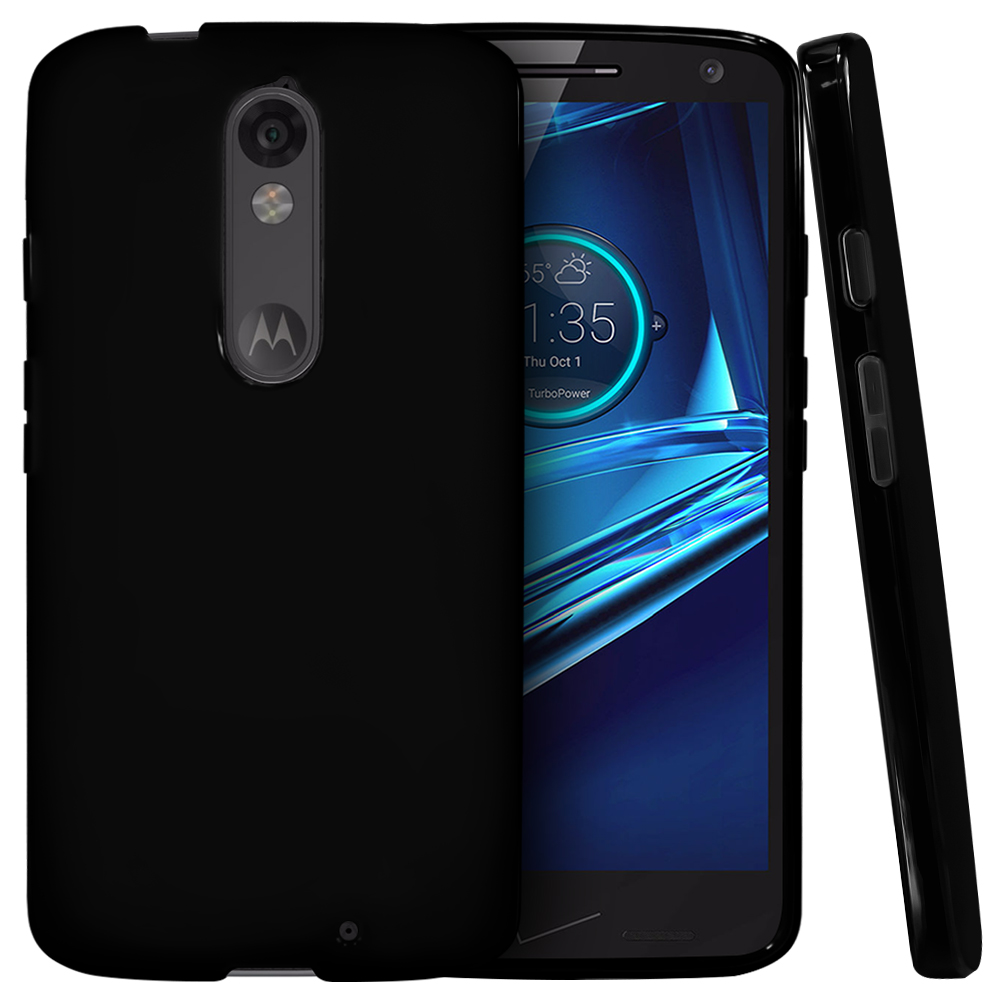 Motorola Droid Turbo 2 Case,  [Black]  Slim & Flexible Anti-shock Crystal Silicone Protective TPU Gel Skin Case Cover