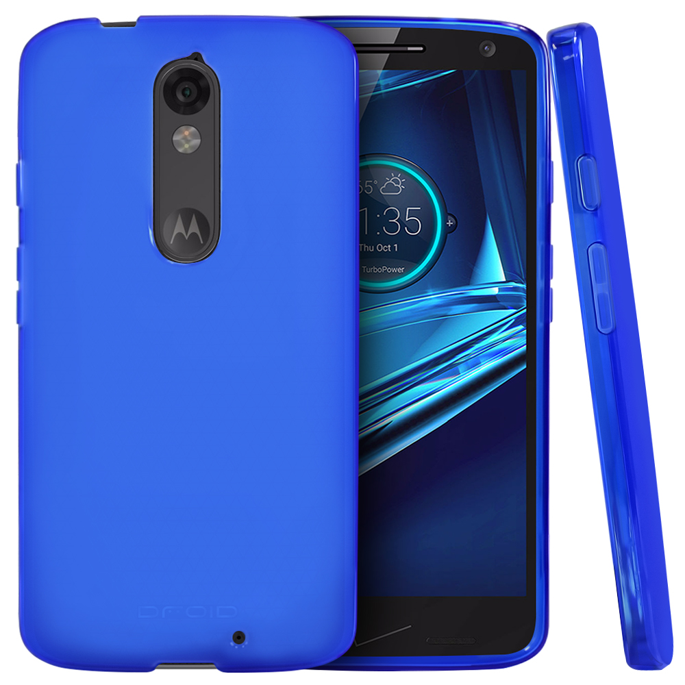 Motorola Droid Turbo 2 Case,  [Blue]  Slim & Flexible Anti-shock Crystal Silicone Protective TPU Gel Skin Case Cover