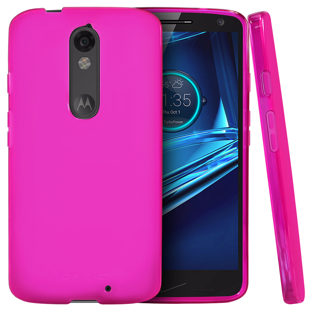Motorola Droid Turbo 2 Case,  [Hot Pink]  Slim & Flexible Anti-shock Crystal Silicone Protective TPU Gel Skin Case Cover