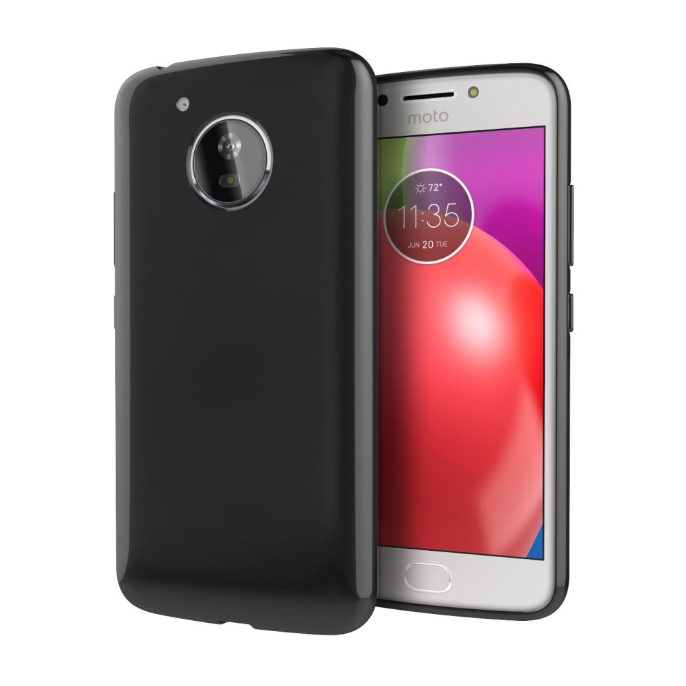 [REDshield] Motorola Moto E4 PLUS Case, [Black] Slim & Flexible Anti-shock Crystal Silicone Protective TPU Gel Skin Case Cover