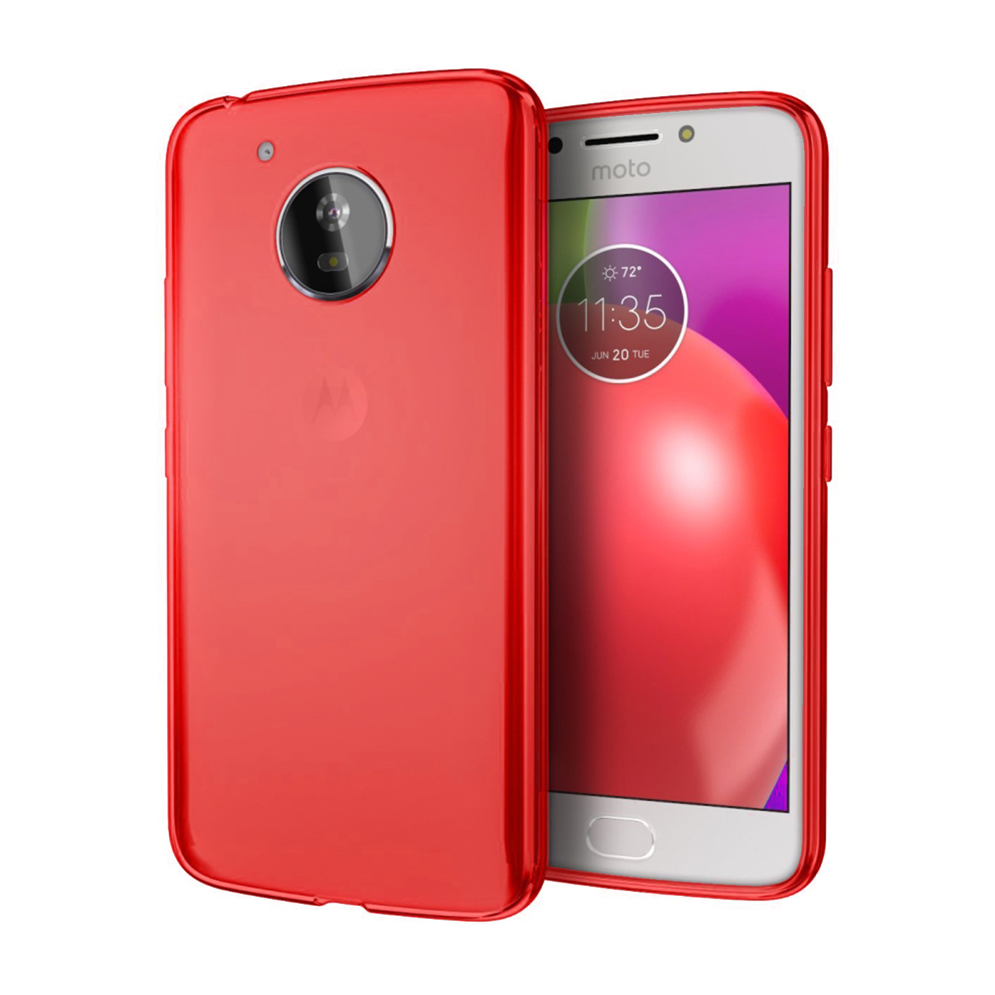 [REDshield] Motorola Moto E4 PLUS Case, [Red] Slim & Flexible Anti-shock Crystal Silicone Protective TPU Gel Skin Case Cover