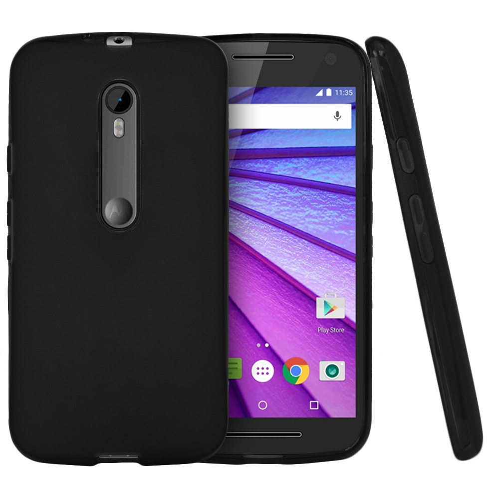 Motorola Moto G 2015 Case, [Black] Slim & Flexible Crystal Silicone TPU Protective Case
