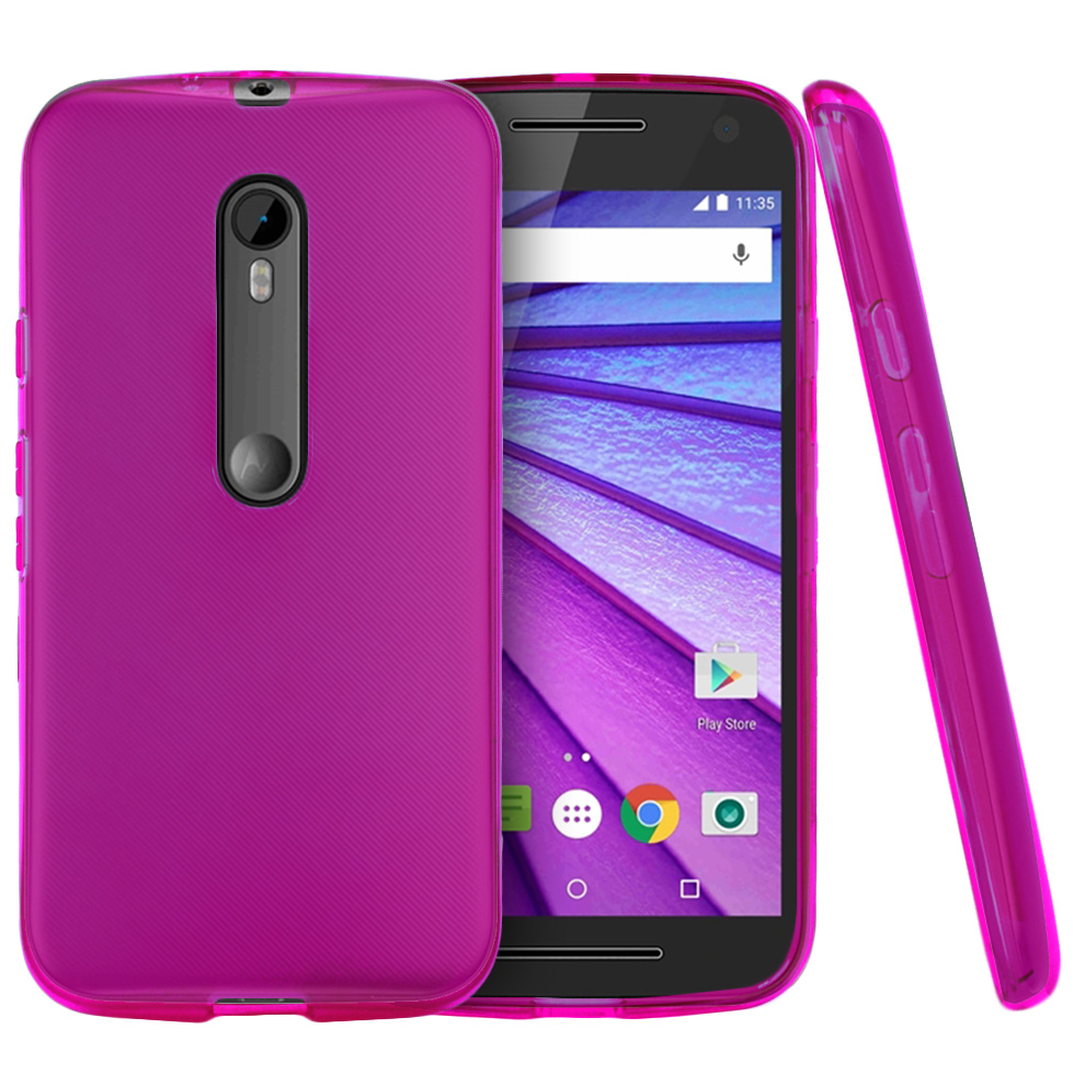 Motorola Moto G 2015 Case, [Hot Pink] Slim & Flexible Crystal Silicone TPU Protective Case
