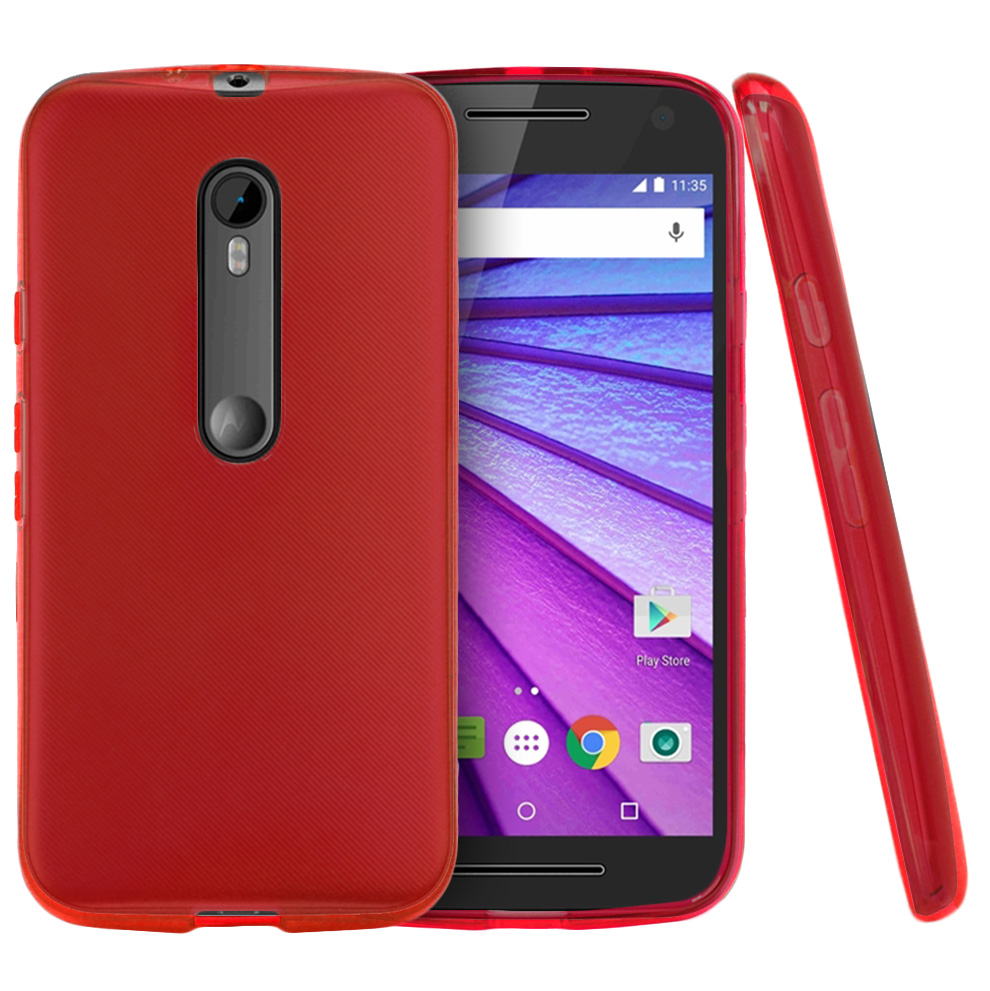Motorola Moto G 2015 Case, [Red] Slim & Flexible Crystal Silicone TPU Protective Case