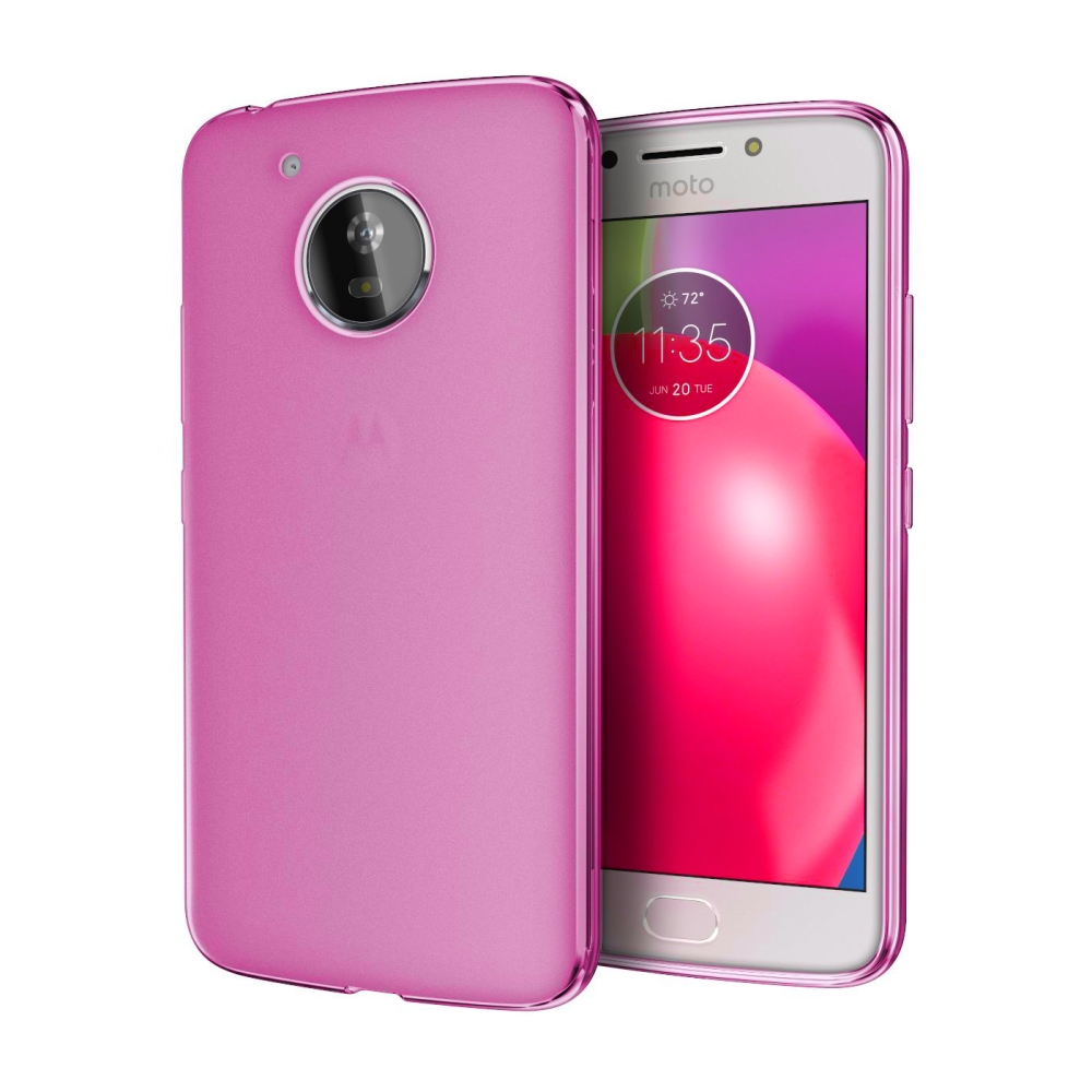 Motorola Moto E4 TPU Case, [REDshield] Slim & Flexible Anti-shock Crystal Silicone Protective TPU Gel Skin Case Cover [Hot Pink]