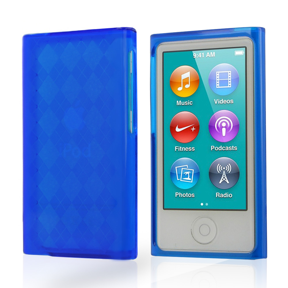 Blue Argyle Crystal Silicone Case for Apple iPod Nano 7