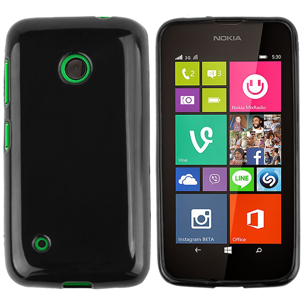 Black Nokia Lumia 530 Flexible Crystal Silicone TPU Case - Conforms To Your Phone Without Stretching Out!