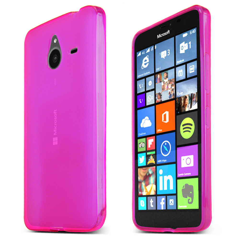 Nokia Lumia 640 XL Case, Hot Pink Slim & Flexible Anti-shock Crystal Silicone TPU Skin Protective Cover