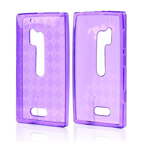 Argyle Purple Crystal Silicone Skin Case for Nokia Lumia 928