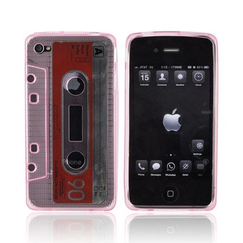 AT&T/ Verizon iPhone 4, iPhone 4S Crystal Silicone Cassette Tape Design - Transparent Pink