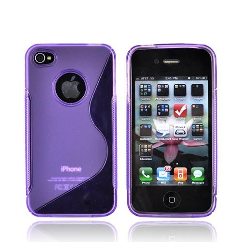Luxmo Apple iPhone 4 Crystal Silicone Case - Transparent/Frost Purple Design