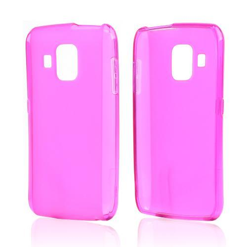 Hot Pink Crystal Silicone Case w/ Frosted Back for Pantech Perception