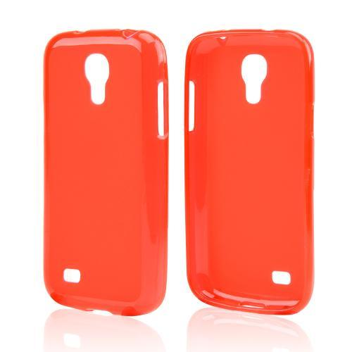 Red Frosted Back Crystal Silicone Skin Case for Samsung Galaxy S4 Mini