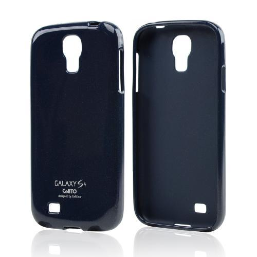 Dark Navy Glitter Crystal Silicone Skin Case for Samsung Galaxy S4