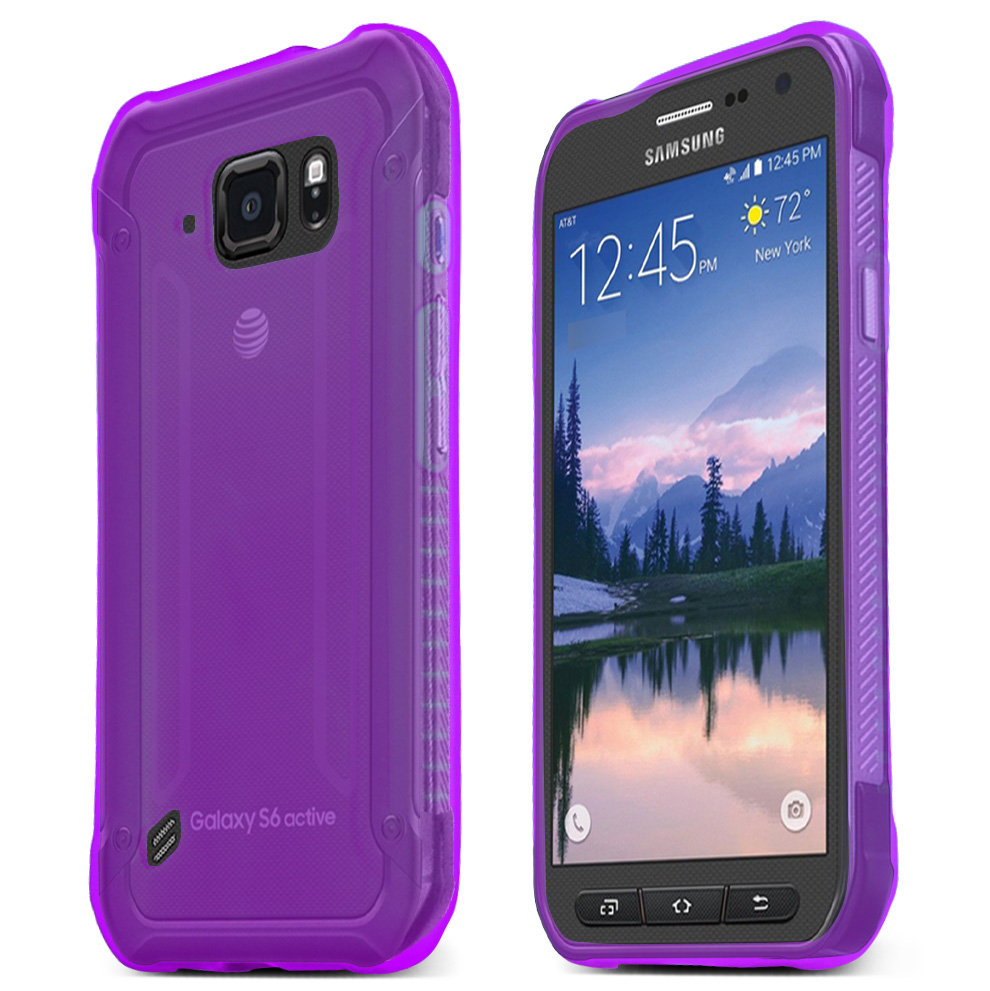 Samsung Galaxy S6 Active Case, PURPLE Slim & Flexible Anti-shock Crystal Silicone TPU Skin Protective Case