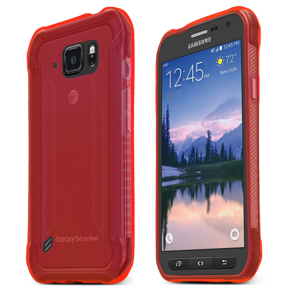 Samsung Galaxy S6 Active Case, RED Slim & Flexible Anti-shock Crystal Silicone TPU Skin Protective Case