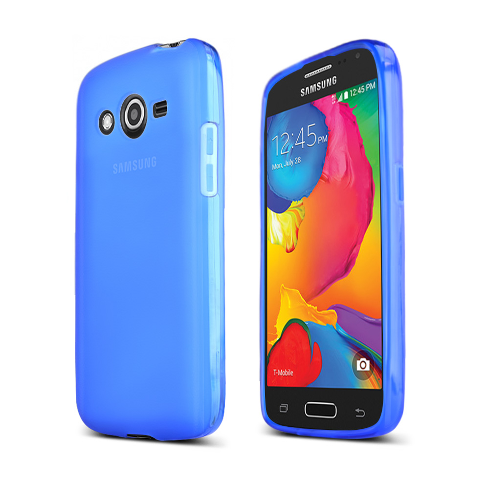 Blue/ Frost Samsung Galaxy Avant Flexible Crystal Silicone TPU Case - Conforms To Your Phone Without Stretching Out!