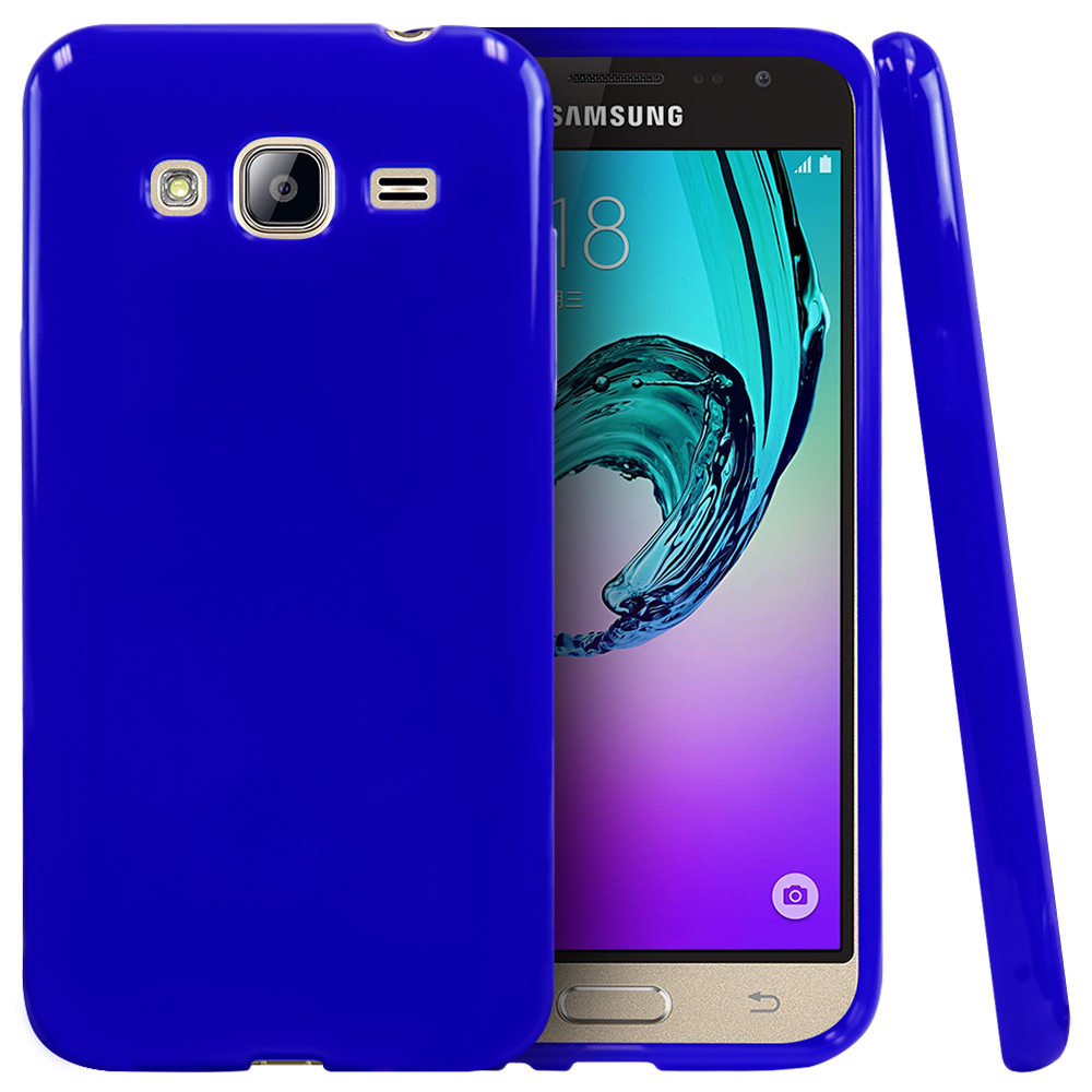 Samsung Galaxy J3 Case, [Blue] Slim & Flexible Anti-shock Crystal Silicone Protective TPU Gel Skin Case Cover
