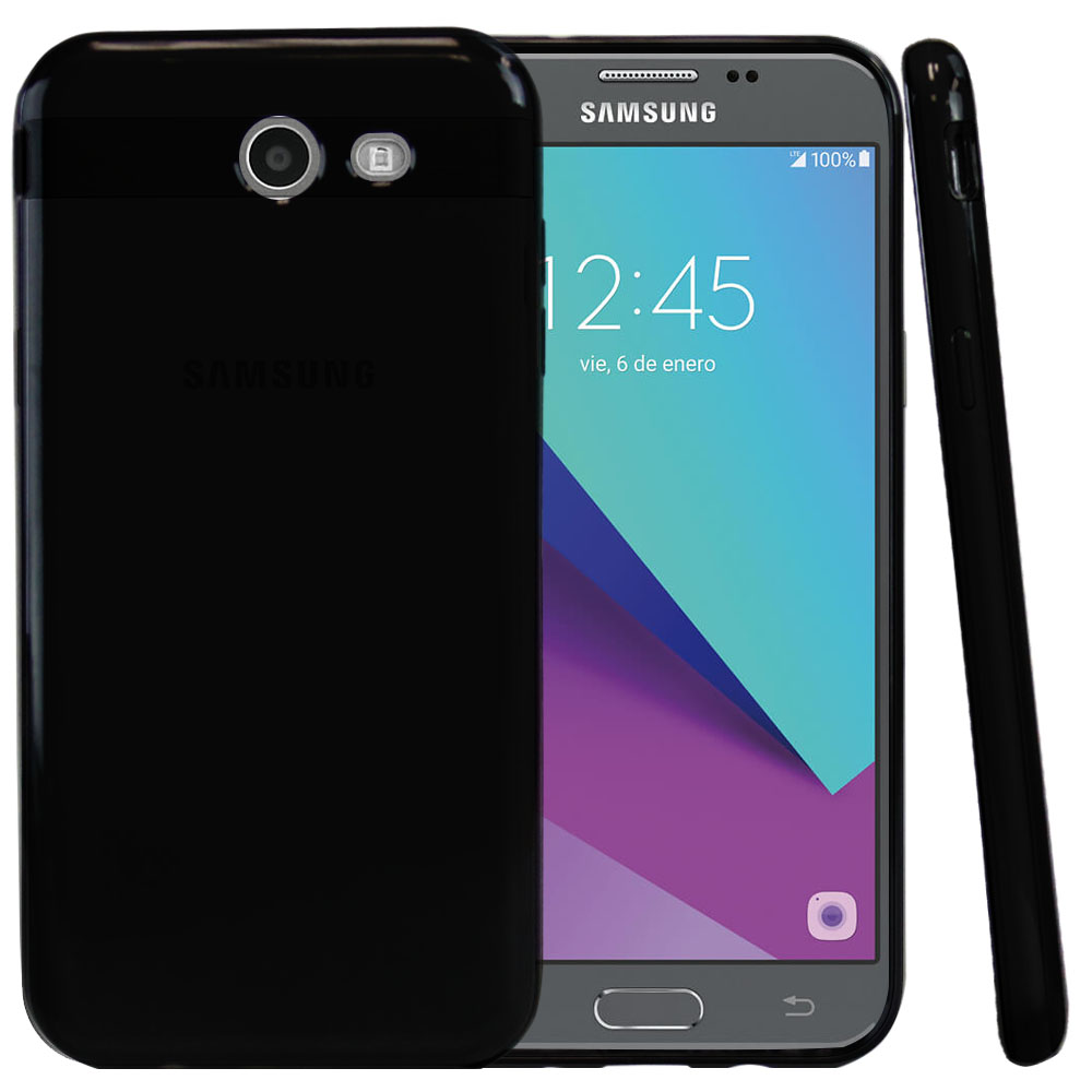 Samsung Galaxy J3 Emerge Case, Slim & Flexible Anti-shock Crystal Silicone Protective TPU Gel Skin Case Cover [Black]