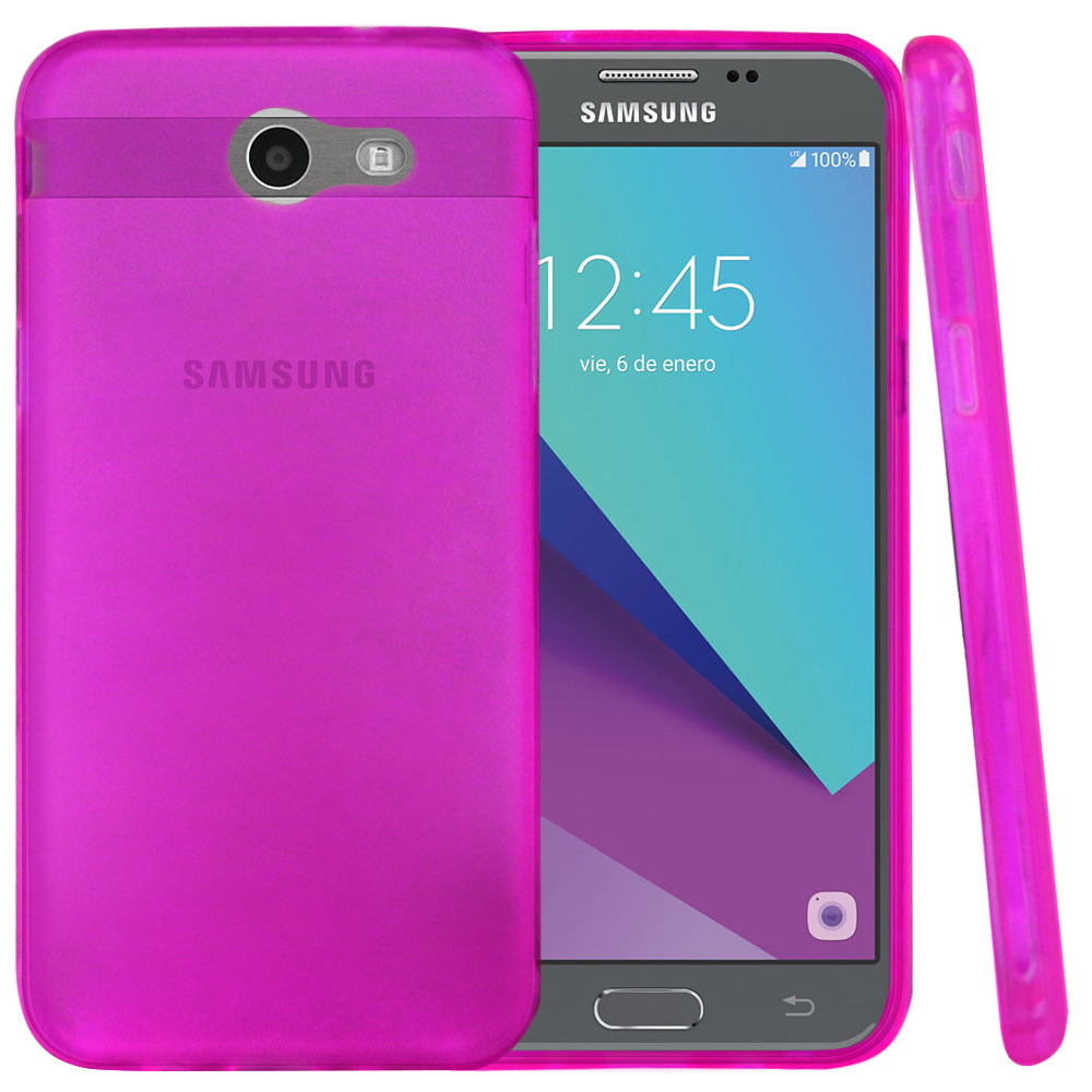 Samsung Galaxy J3 Emerge Case, Slim & Flexible Anti-shock Crystal Silicone Protective TPU Gel Skin Case Cover [Purple] with Travel Wallet Phone Stand
