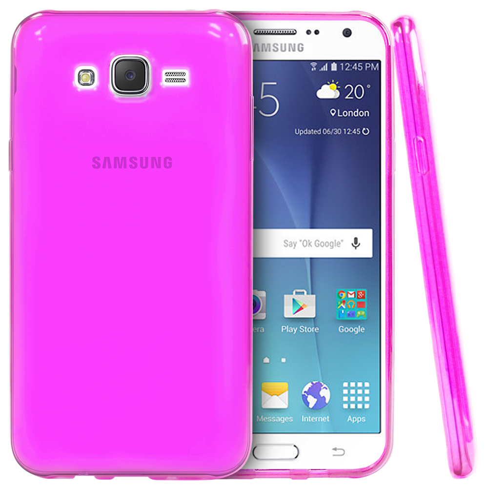 Samsung Galaxy J7 (2015) Case, REDShield [Hot Pink]  Slim & Flexible Anti-shock Crystal Silicone Protective TPU Gel Skin Case Cover