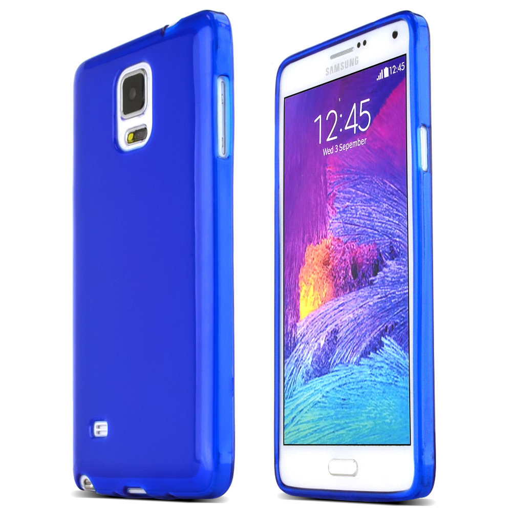 Samsung Galaxy Note 4 Case,  [Blue]  Slim & Flexible Anti-shock Crystal Silicone Protective TPU Gel Skin Case Cover