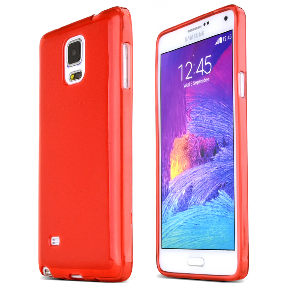 Samsung Galaxy Note 4 Case,  [Red]  Slim & Flexible Anti-shock Crystal Silicone Protective TPU Gel Skin Case Cover