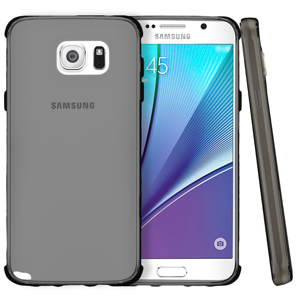 Samsung Galaxy Note 5, [Smoke]  Slim & Flexible Anti-shock Crystal Silicone Protective TPU Gel Skin Case Cover